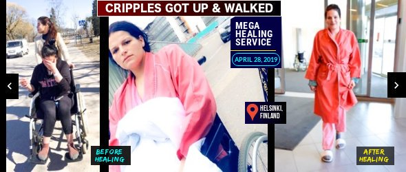 Totally Crippled Woman Gets Up & Walks